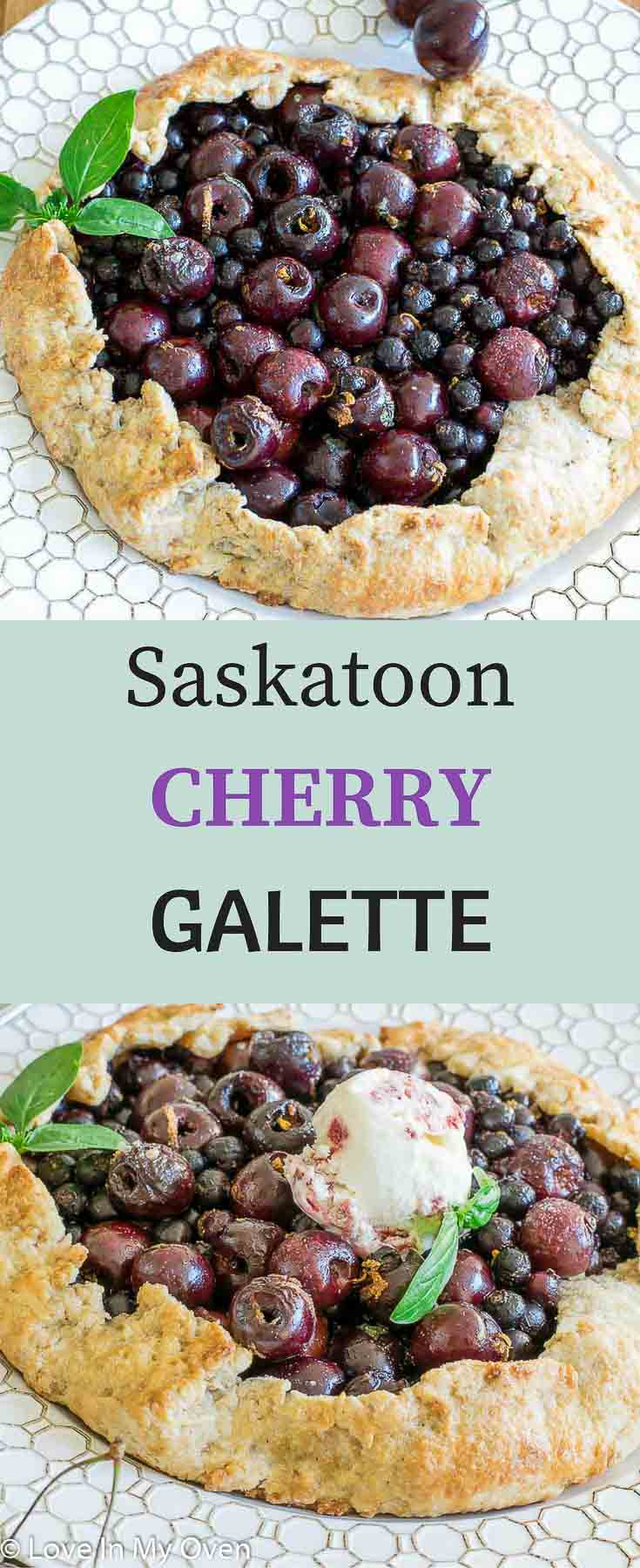 Sweet saskatoons and fresh cherries are combined with fresh basil and lemon zest in this deliciously lazy shortcut on pie!