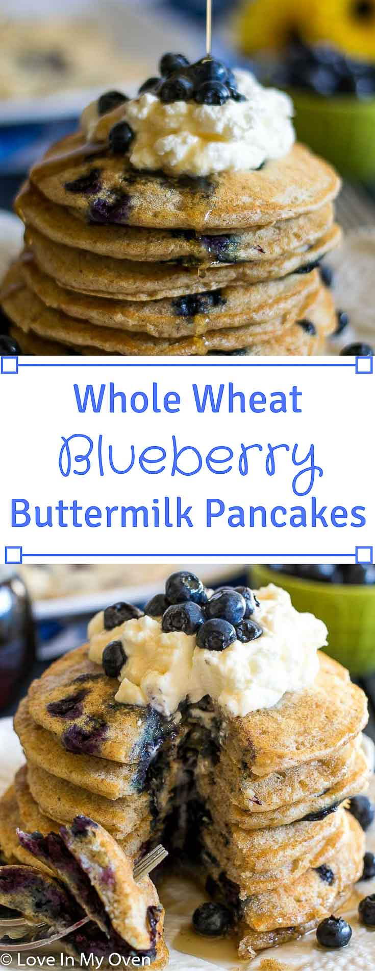 Fluffy, soft, blueberry-studded whole wheat buttermilk pancakes. They're a weekend breakfast game-changer!