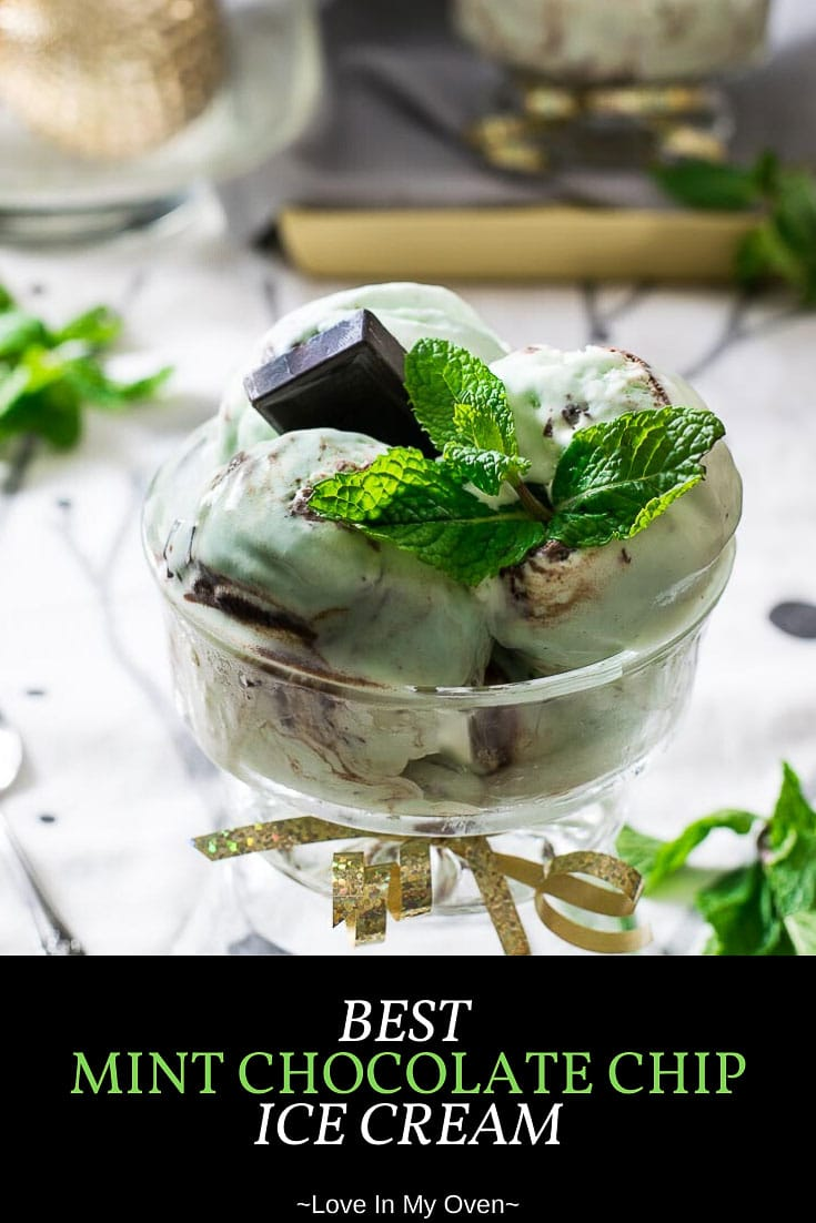 This is the BEST mint chocolate chip ice cream! It\'s a fresh mint ice cream recipe made without an ice cream maker, with REAL mint and chunks of chocolate! // mint chocolate chip ice cream recipe // recipes for mint leaves // fresh mint ice cream no eggs