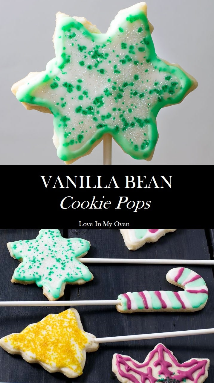 cookie pop, cookie on a stick, sugar cookies, vanilla bean, vanilla sugar cookie, easy recipe, how to decorate, decorating, royal icing, holiday baking, Christmas cookies, christmas