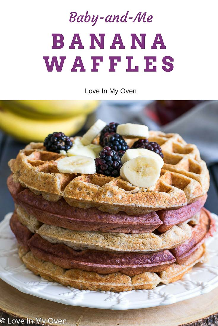 Light and fluffy waffles with a crispy exterior - sweetened with bananas and made with 100% whole wheat flour! Healthy enough for babies starting out on solids but delicious enough for the whole family to enjoy! #babyledweaning #nosugaradded #sugarfreewaffles #sugarfreerecipes #babywaffles #bananawaffles #healthywaffles