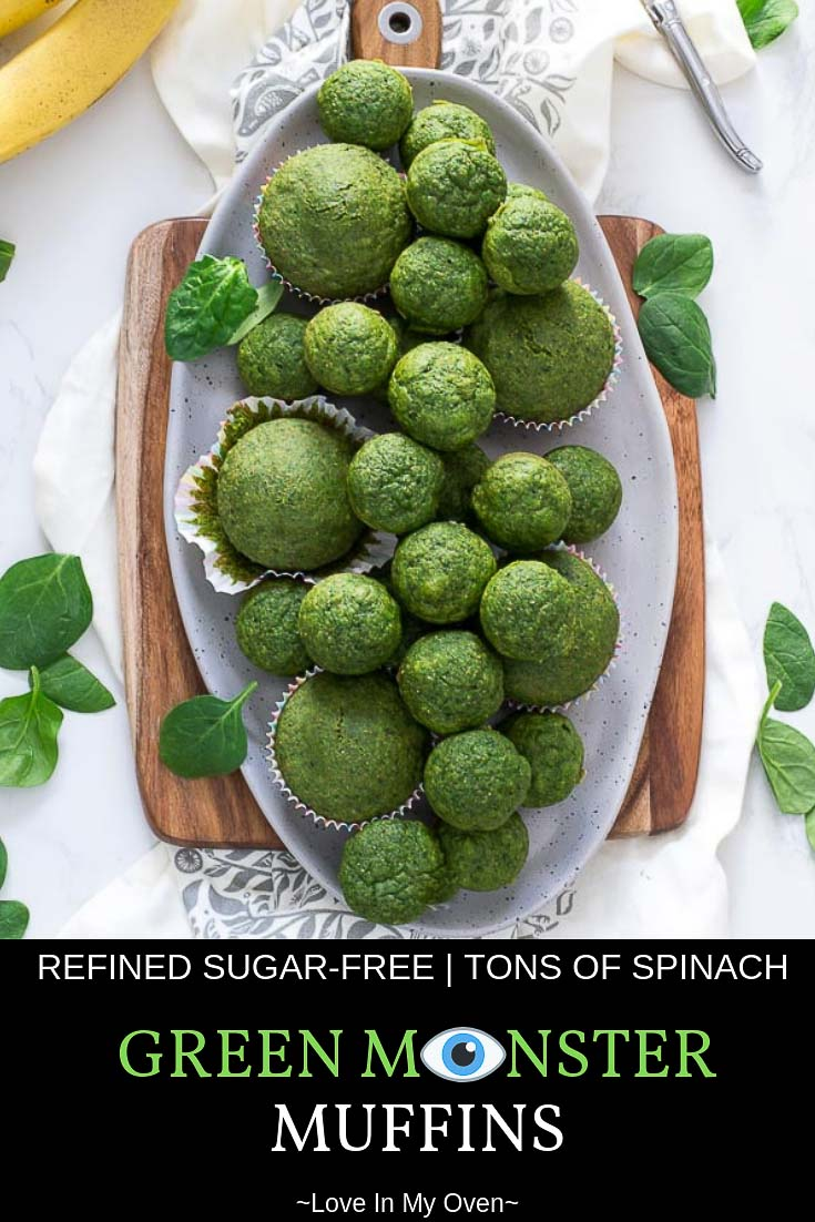 If you find the idea of spinach muffins unappealing, guess again! These green monster muffins are so sweet and all natural. It\'s a great way to sneak some spinach into your diet! //green monster muffins // banana spinach muffins // all natural muffins //popeye muffins