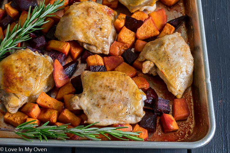 Sheet Pan Chicken with Sweets n' Beets