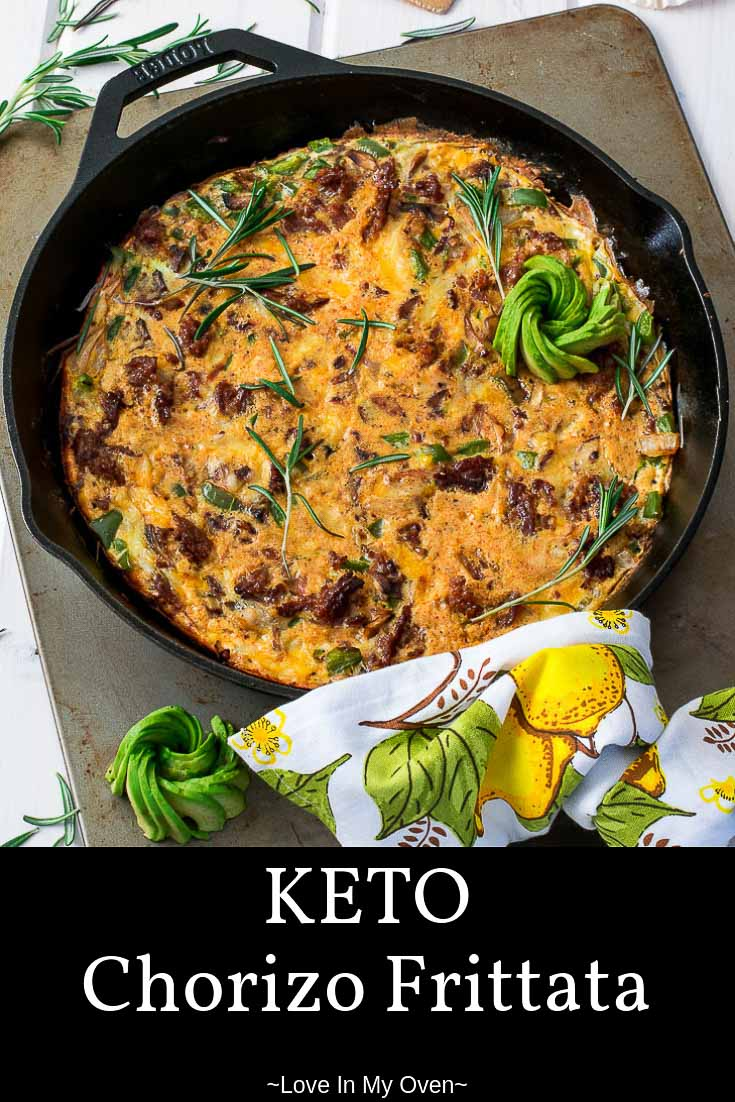 Make this keto-friendly cheesy, spicy and oh-SO easy chorizo frittata on a Sunday, and have your breakfast figured out for the whole week!