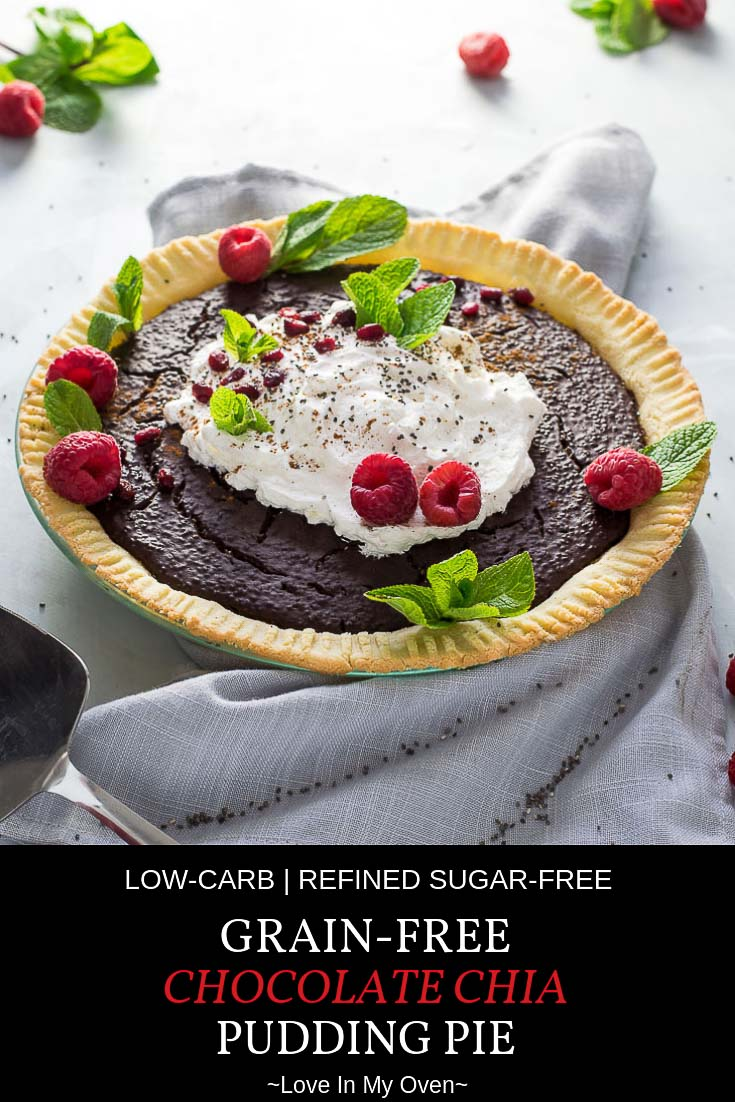 You won\'t be able to stop at one slice once you taste this chocolate chia pudding pie! A thick, creamy, chocolate filling made with plump chia seeds and honey sits atop a grain-free, almond flour pie crust. You\'ve got to try this guilt-free, delicious chocolate pie! #paleo #grainfree #paleodesserts #almondflour #chocolatepie #chia #healthydesserts