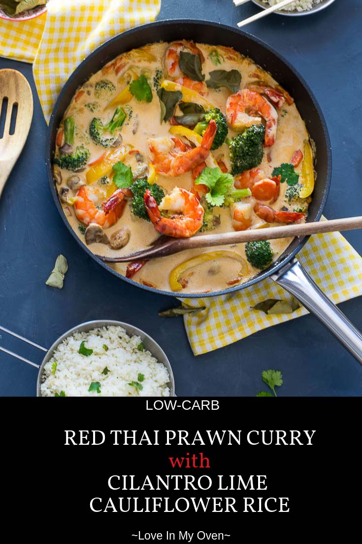 You'll have no trouble skipping the take-out when you can whip together this creamy coconut red Thai prawn curry in less than 30 minutes. Make it with cilantro-lime cauliflower rice to make it completely low-carb! #lowcarb #thaifood #redcurry #redthaicurry #prawns #thairecipes #ketorecipes #lowcarbdinner