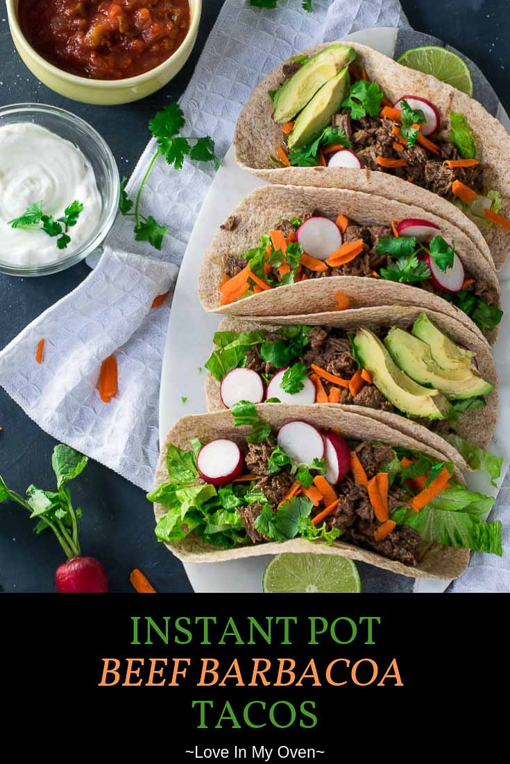 An easy barbacoa recipe that\'s all done in the Instant Pot! Try it tonight for the softest, juiciest, most flavourful instant pot shredded beef tacos! #easy barbacoa recipe #instant pot shredded beef #barbaco beef tacos