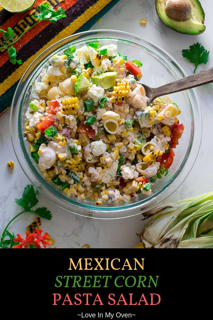 Spicy sriracha sauce and jalapeno give this mexican street corn pasta salad the perfect amount of kick! If you love mexican street corn on the cob you\'ll definitely love this unique pasta salad recipe! // unique pasta salad // corn dish recipes // Mexican street corn salad