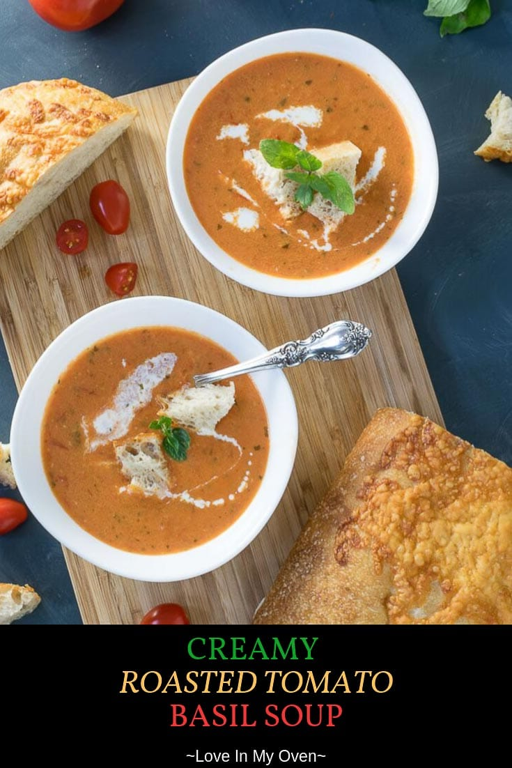 Turn that late fall garden produce into this creamy roasted tomato basil soup! Perfect for a chilly day, this easy tomato basil soup is full of fresh ingredients and flavour! // easy tomato basil soup // healthy creamy tomato basil soup // homemade fresh tomato soup