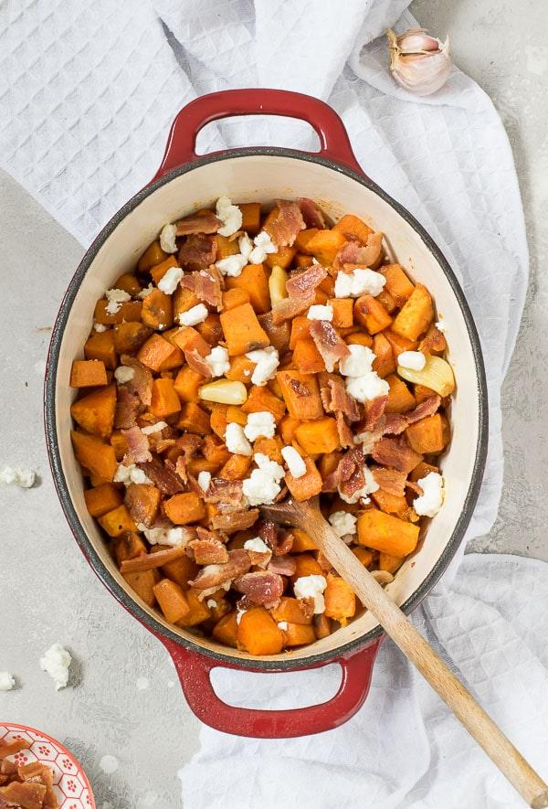 roasted sweet potates with bacon