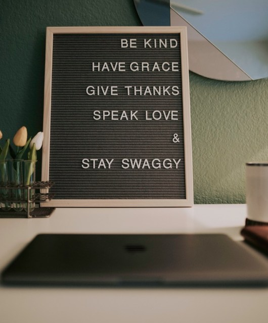 positive words on a desk