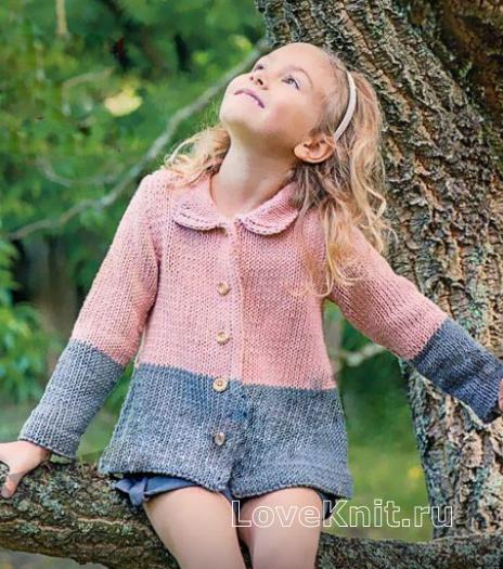 Детское двухцветное пальто с круглым воротником схема ...