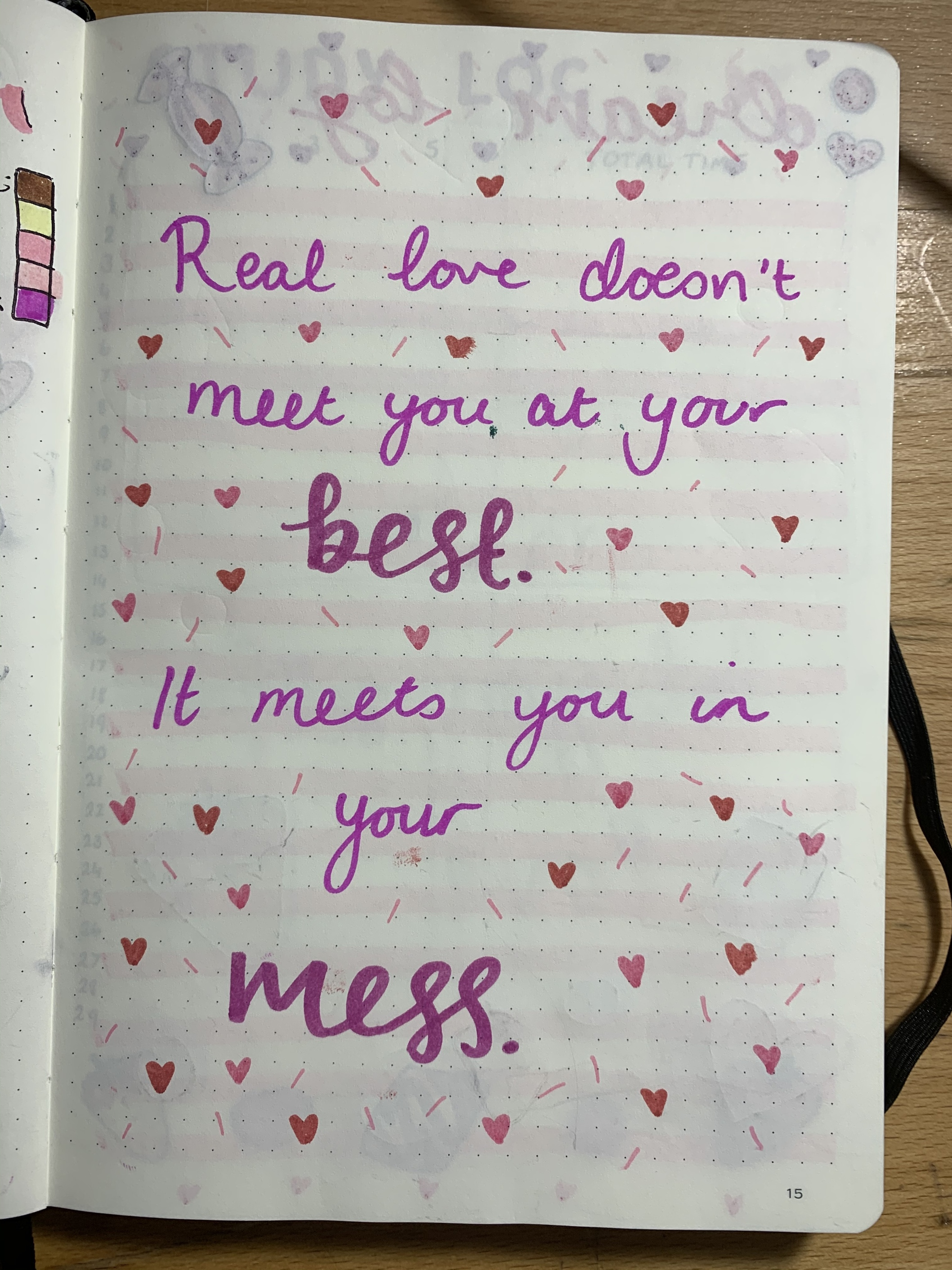 February bullet journal quote page about love