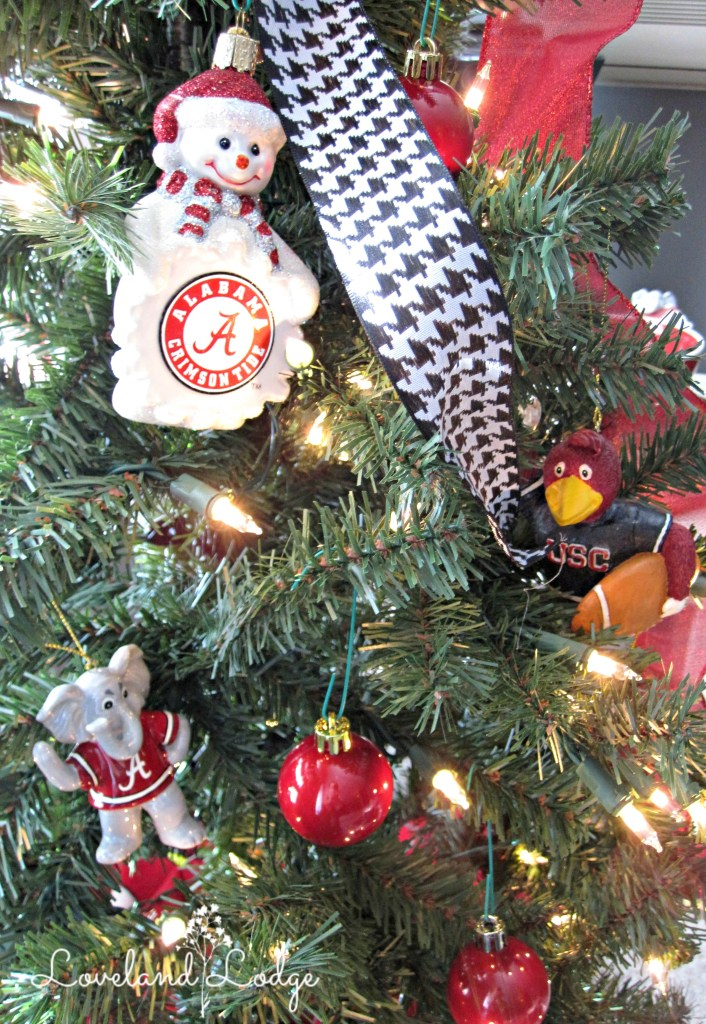 The one USC ornament on the tree, and a few Alabama ones