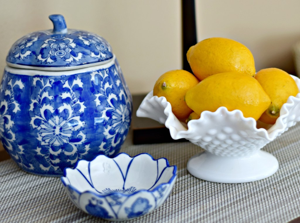Blue & White and milk glass
