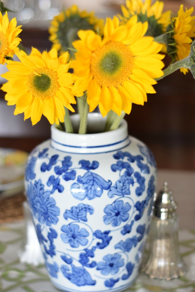 Blue and white sunflowers
