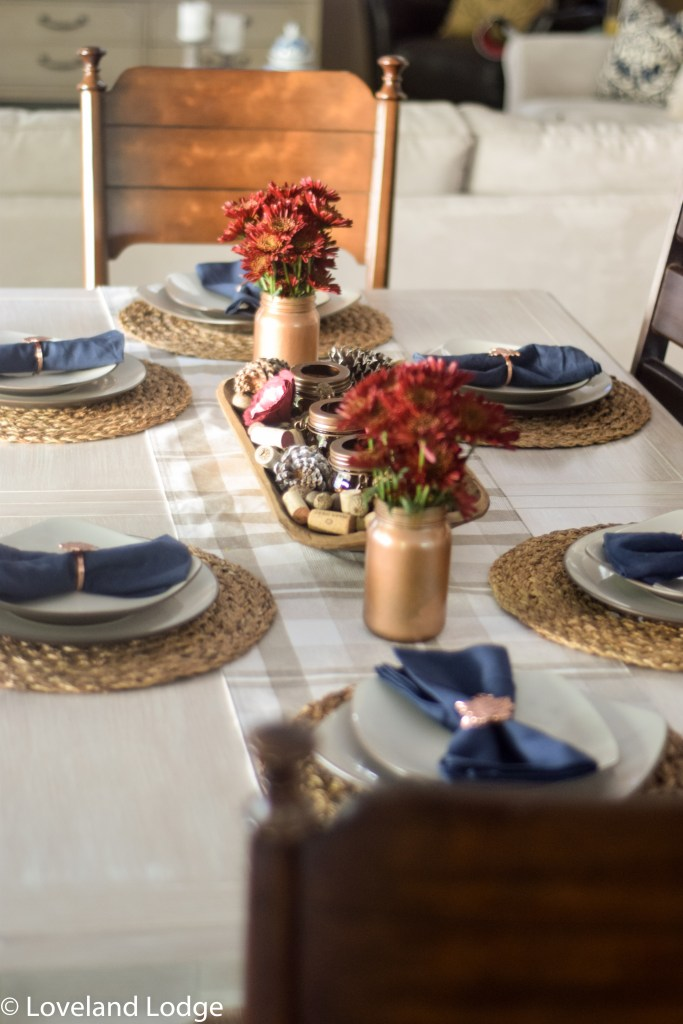 Navy and copper fall tablescape