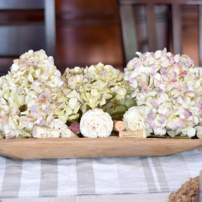 Create a simple rustic farmhouse tablescape with texture and natural elements