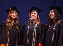 """Jane Pearson, Abby Hickey and Jacalyn Parsley singing """"Stop this Train""""."""