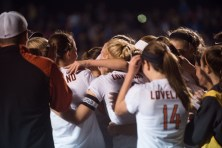 Loveland women's soccer hugs Sarah Harter after her winning goal