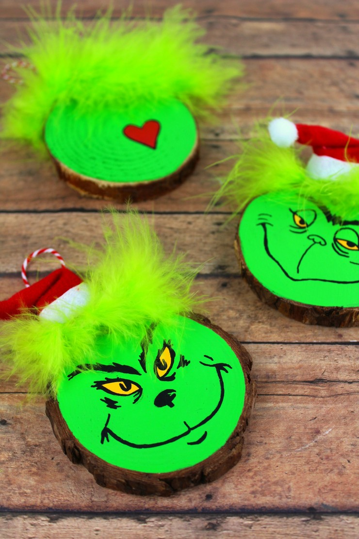 This the grinch wood slice ornament will look great on your Christmas tree.