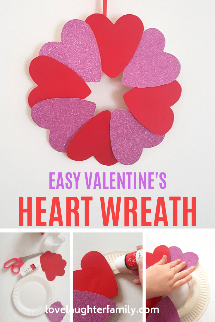 Simple Valentines Heart Wreath Craft for Kids to Make with Parents. Valentine's Day Crafts For Kids Heart Wreath that toddlers and kids can do, easy.