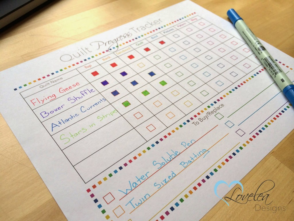 Quilt Progress Tracker Free Printable