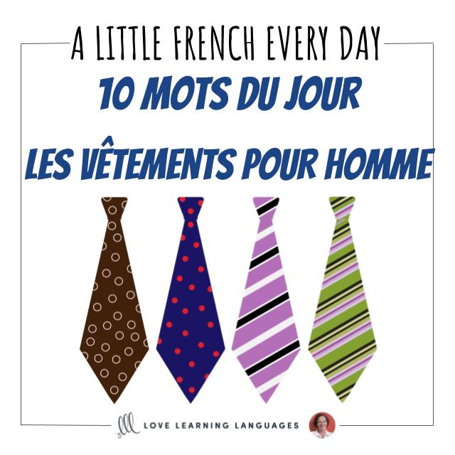 French Men Clothes Vocabulary