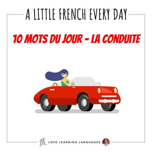French Vocabulary list - 10 words about driving