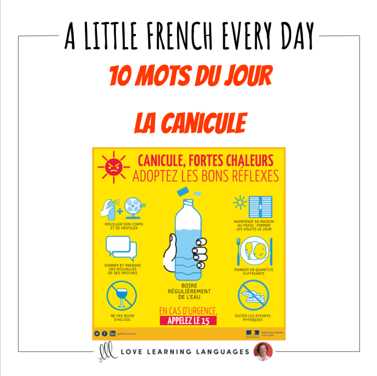 French Vocabulary list - 10 words about heat waves