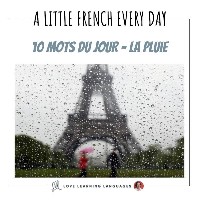 French Vocabulary list - 10 words about rain
