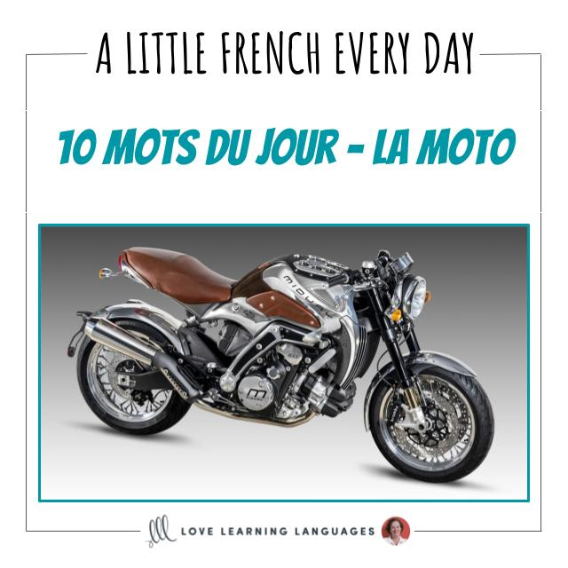 French Vocabulary list - 10 words about motorcycles