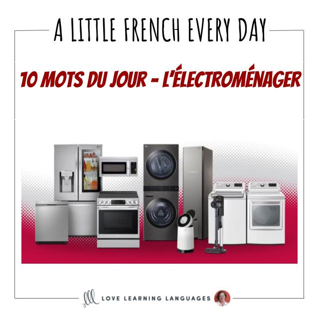 French Vocabulary list - 10 words about home appliances.