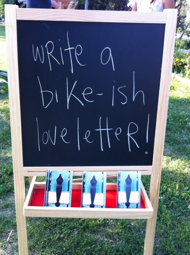 love, love lettering project, artspin, june 2012, toronto, bikes