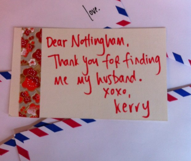 A made-to-order love letter for a writing chum back home!