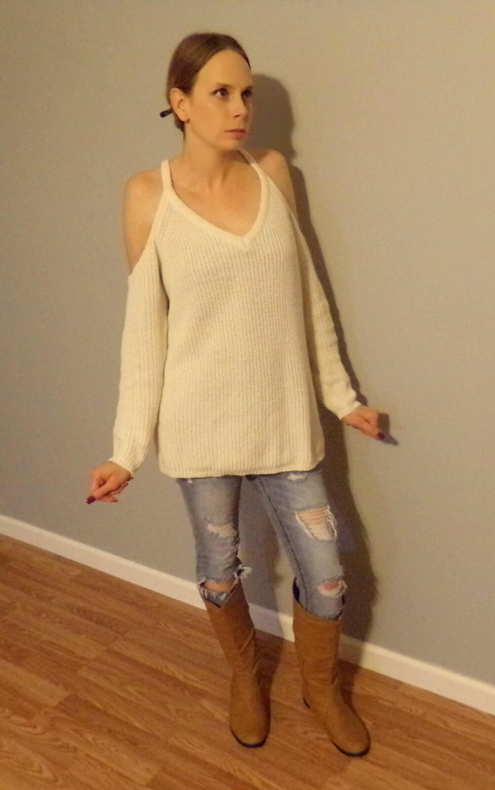 Outfit of the Day: Cold Shoulder Sweater from Kiyomi's Kloset