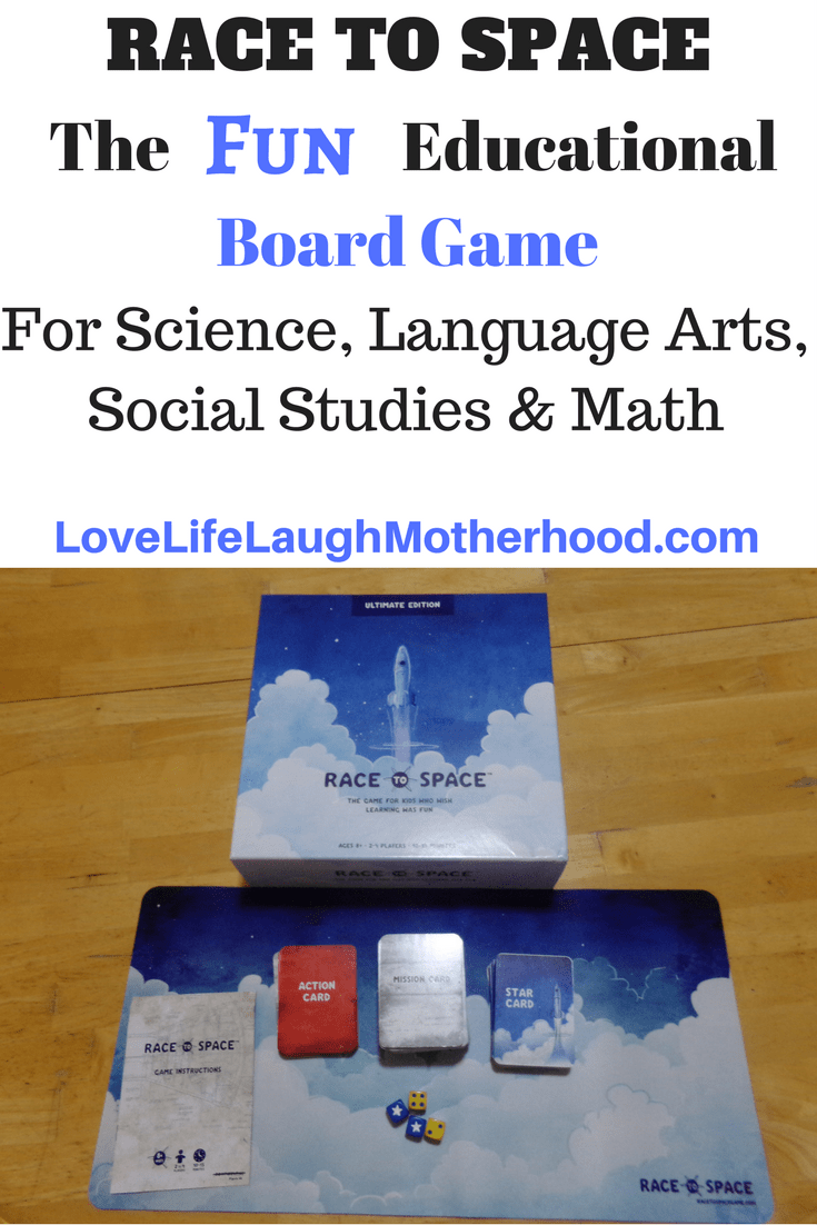 Race To Space - Educational Board Game for ages 8+ incorporating math, science, social studies, and language arts into a fun game! #boardgames #educationalgames #familynight