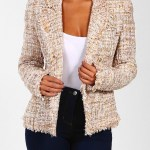 PINK BOUTIQUE - NUDE COLOURED TWEED BLAZER