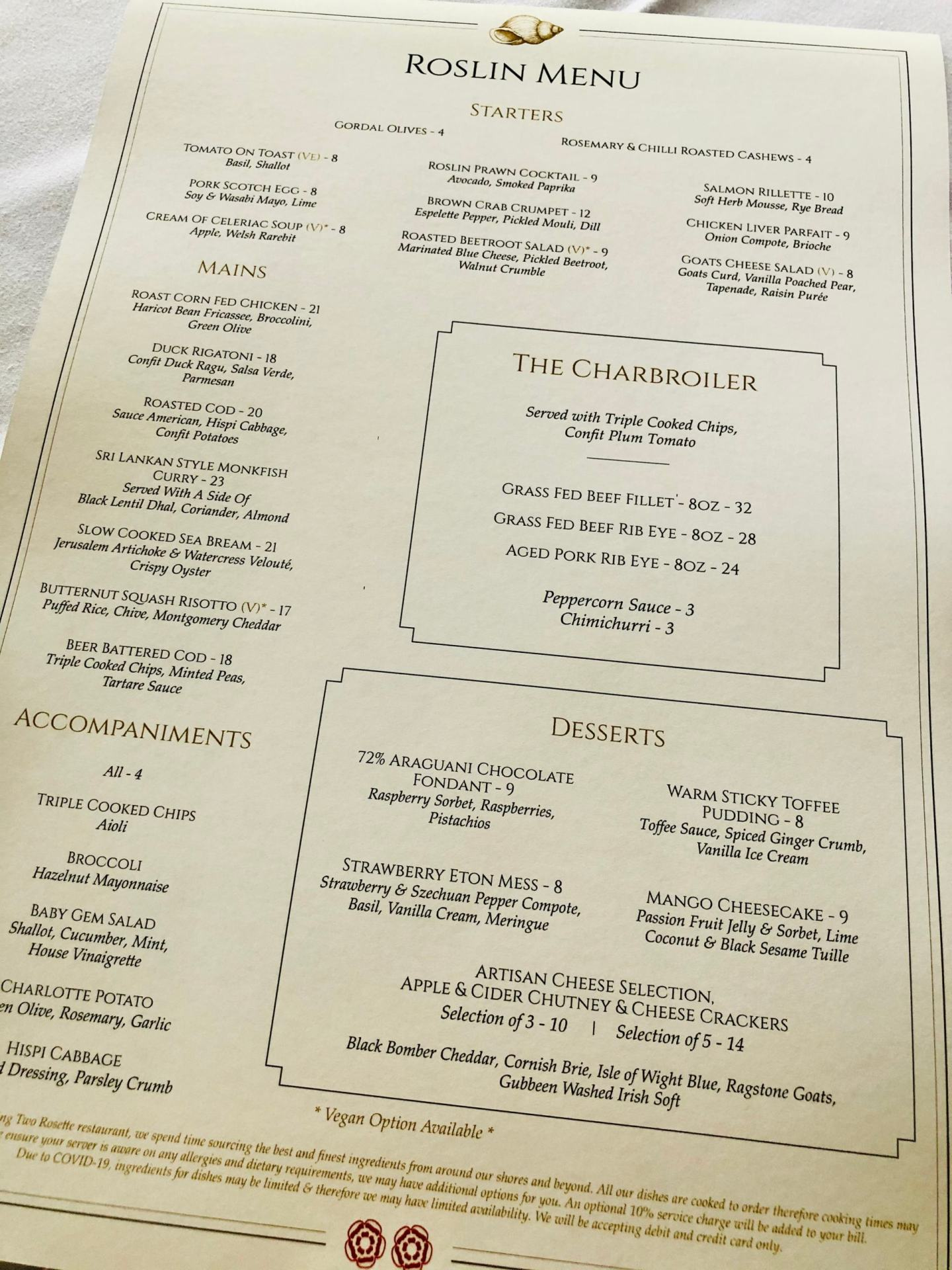 Dinner at The Roslin Hotel Review - MENU