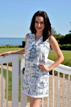 Chinoiserie Blue, V Neck Dress w Pom Pom Trim