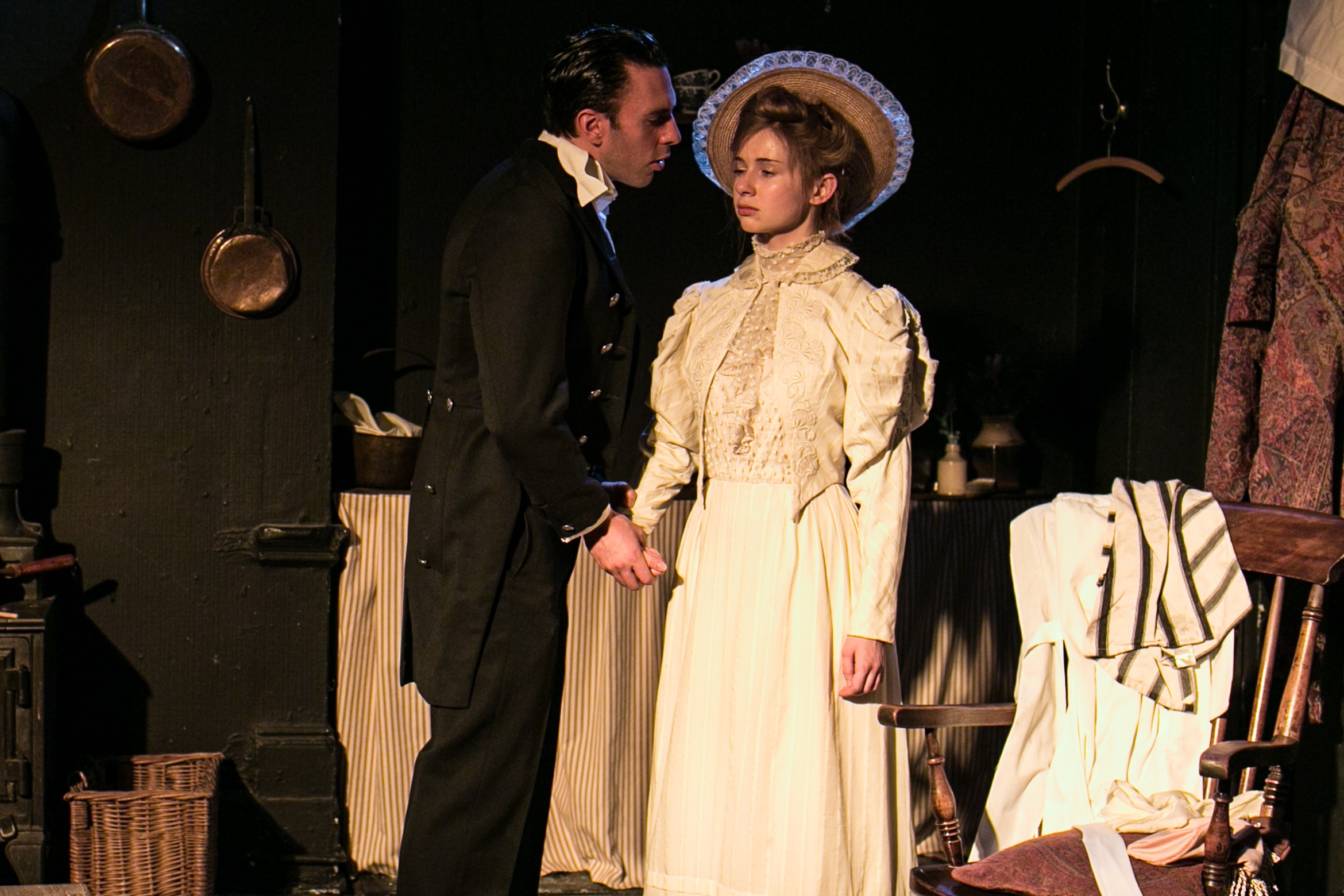 Buckland Charlie Dorfman as Jean and Laura Greenwood as Miss Julie Photo by Darren Bell 3.jpg