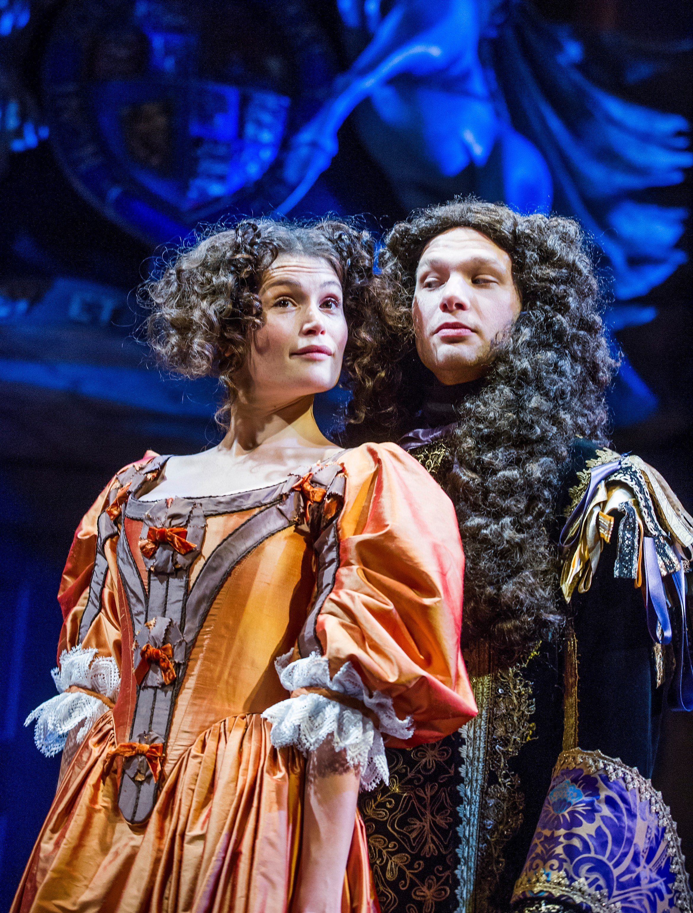 Gemma Arterton (Nell Gwynn) and David Sturzaker (Charles II) in Nell Gwynn at the Apollo Theatre. Photo credit Tristram Kenton.jpg