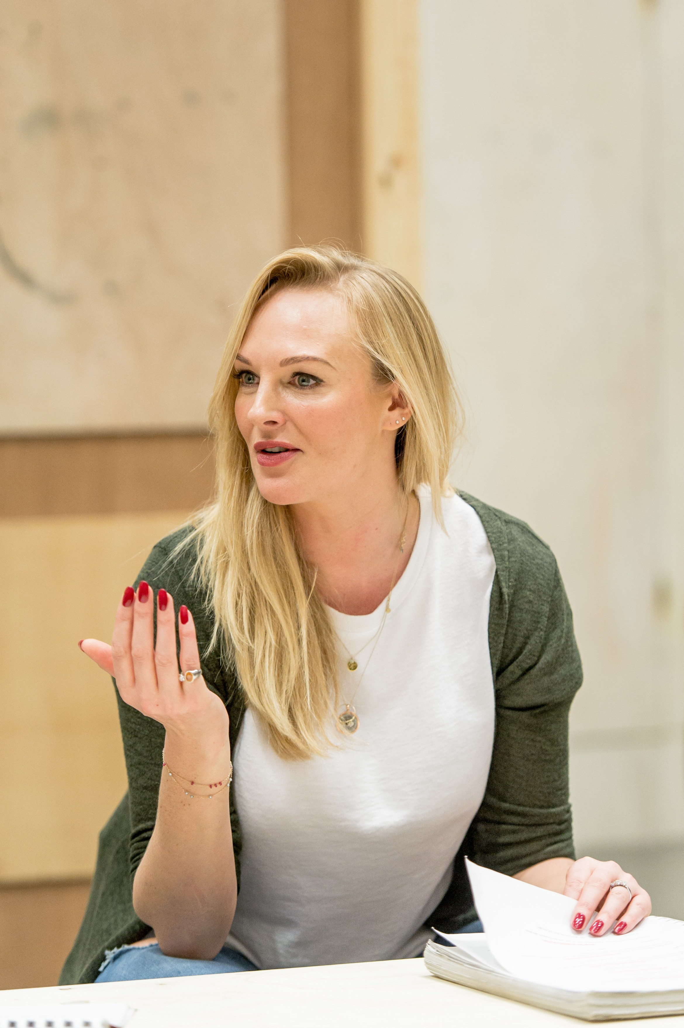 Katherine Kingsley (Mrs Marcee Dupont-Dufort) in rehearsal for Welcome Home, Captain Fox! at the Donmar Photographer Manuel Harlan