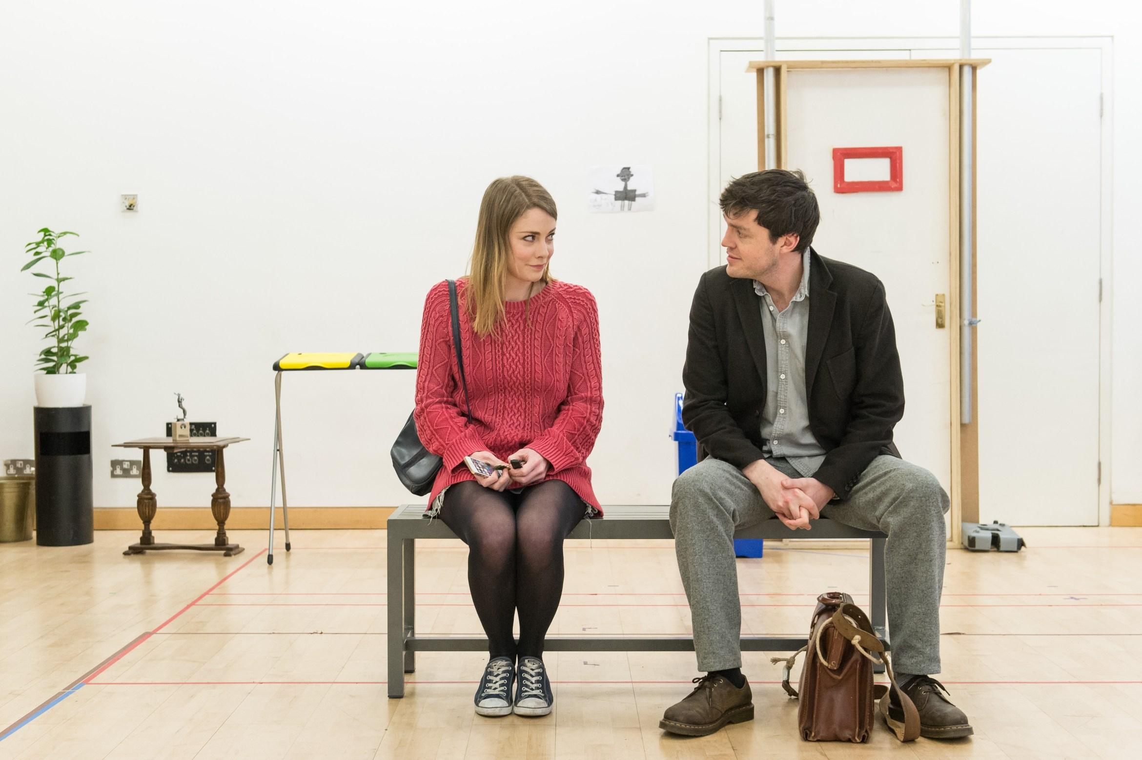 Lauren O'Neil (Steph) and Tom Burke (Greg) in Reasons to be Happy at Hampstead Theatre. Photos by Manuel Harlan..jpg