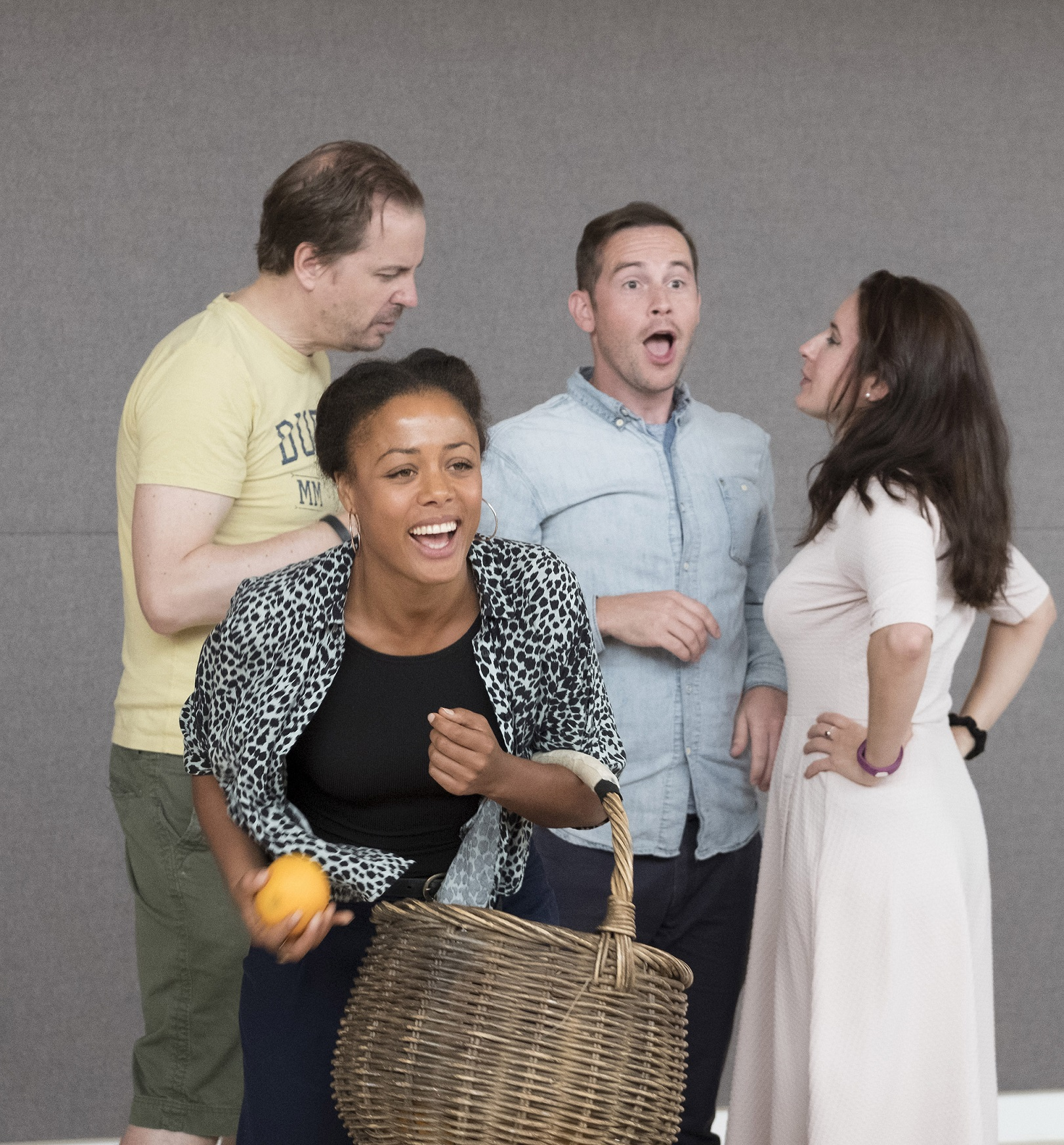 Jonathan Hansler, Nina Toussaint-White, James Marchant, Lydia Piechowiak in rehearsals for The Libertine. Credit Alastair Muir.jpg.jpg