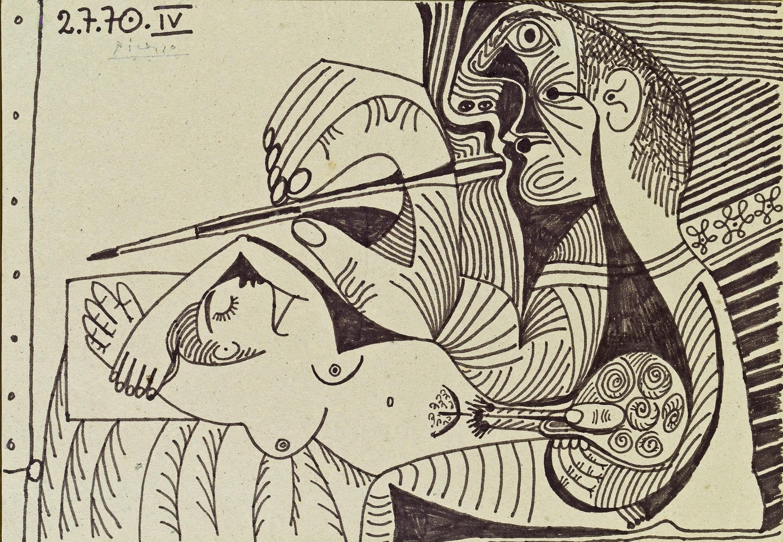 Picasso, Le peintre et son modèle IV, 1970, Ink on cardboard (Courtesy Omer Tiroche).jpg
