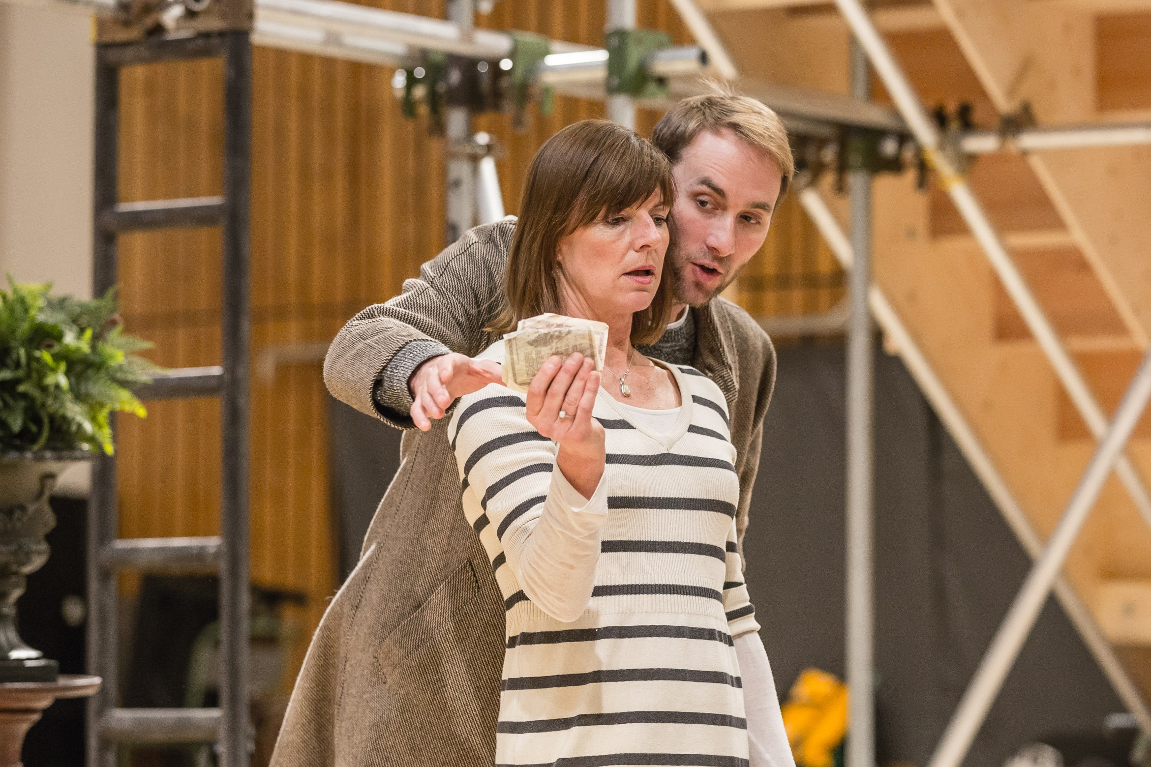 Doon Mackichan & Oliver Chris in rehearsals for Twelfth Night. Photo by Marc Brenner.jpg