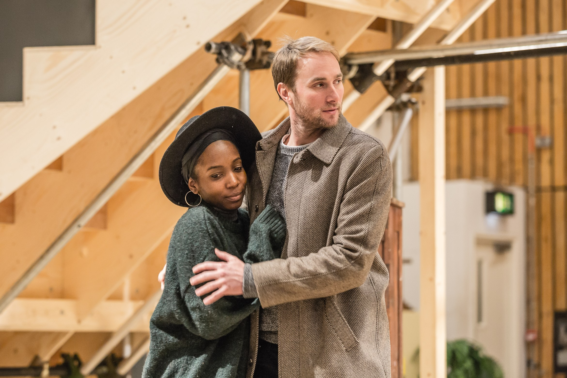 Tamara Lawrance and Oliver Chris in rehearsals for Twelfth Night. Image by Marc Brenner.jpg
