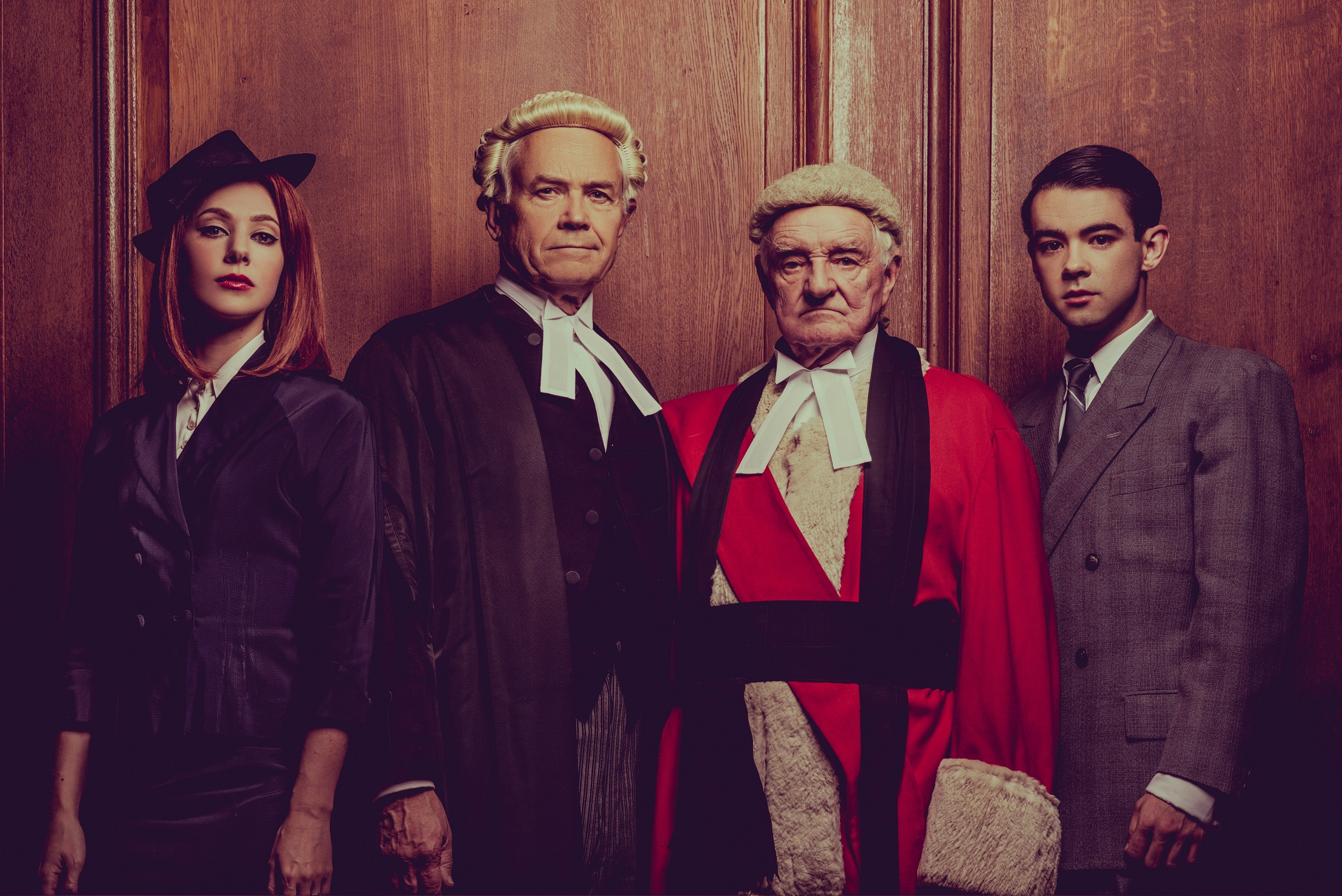 Catherine Steadman, David Yelland, Patrick Godfrey and Jack McMullen in Witness for the Prosecution photo by Idil Sukan.jpg