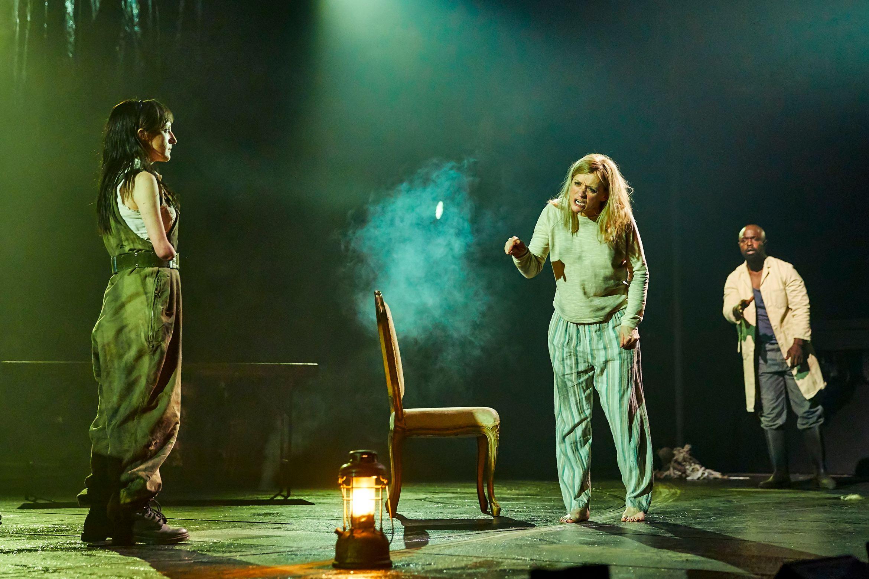 Nadia Albina as Gentlewoman, Anne-Marie Duff as Lady Macbeth and Michael Balogun as Doctor in Macbeth at the National Theatre (c) Brinkhoff Mögenburg 1002-0894.JPG